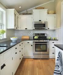 L Shaped Kitchen Cabinet Kitchen Small L Shaped Kitchen Design With Tile Backsplash And