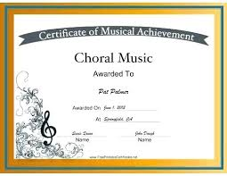 Choir Certificate Template Choir Certificate Template Music In Motion Of Participation C