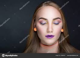 luxury professional makeup bright style purple violet shiny lipstick y body shoulders new horizontal photo gray dark background photo by