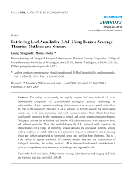 pdf retrieving leaf area index lai using remote sensing theories methods and sensors