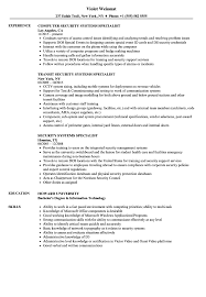 Security Systems Specialist Resume Samples Velvet Jobs