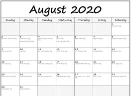 August 2020 Calendar Excel