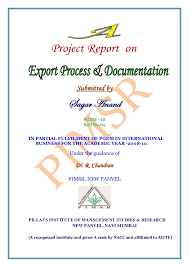 project report front page a project report on export process and documentation