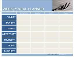 Excel Weekly Meal Planner Meal Planner Template Excel Printable Planner Template