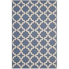 cerelia moroccan trellis 8x10 indoor and outdoor area rug in blue and beige