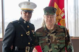 Det 4, Headquarters 4th Marine Division: Dr. Clarence Harper Master Gunnery  Sergeant - Hand Salute