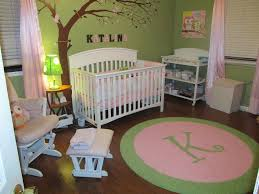 green and pink nursery rug