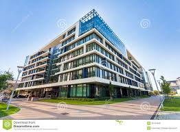 modern office building design. Alley With Modern Office Buildings In Budapest Building Design D