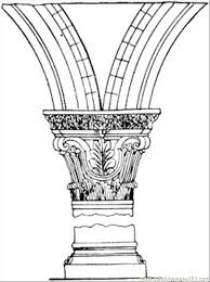 Small Picture Broken Column Coloring Page Free Structures Coloring Pages