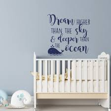 zoom on wall decal quotes for nursery with dream higher than the sky and deeper than the ocean wall decal