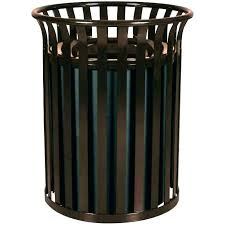 outdoor wicker trash can garbage antique cans steel receptacle park with lid w baskets waste basket
