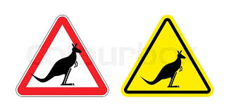 warning sign of attention kangaroo hazard yellow sign jumping marsupials silhouette australian beast on red triangle set road signs