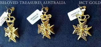 18ct 18kt gold filigree pendant maltese cross heraldic