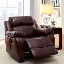 furniture of america menezi brown bonded leather recliner