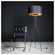 fondachelli nickel tripod floor lamp with black shade