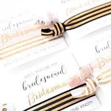 Party Proposal Unique Bridal Party Proposal Hair Tie Gift Modern Black White