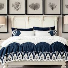blue white lace linen duvet cover set