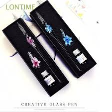 <b>1 Set</b> Gift Box English Calligraphy Handmade <b>Glass Pen</b> | Shopee ...