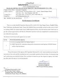 Work Completion Certificates Capchem Electricals Pvt Ltd