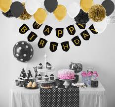 paxcoo black and gold birthday decorations with happy birthday banner black gold balloons and party supplies for 20st 30th 40th 50th 60th 70th 75th