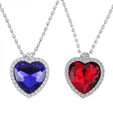 fasherati blue red heart titanic heart pendant for girls set of 2 pendant necklace