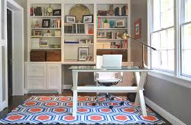 creative ideas home office. colorful printed rug for creative ideas home office with modern glass desk and white leather swivel chair i