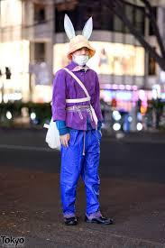 re harajuku street style w bunny ears corduroy jacket faux leather pants layered belts yohji yamamoto bag