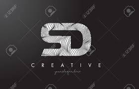 Sd S D ゼブラ線テクスチャ デザイン ベクトル イラストとロゴを手紙します