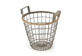 Great Antique Farmhouse Round Metal Wire Basket With Jute Small Antique  With Regard To Small Wire Baskets Prepare ...