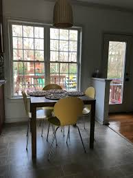 i visioned a long sitting and storage bench below the window which not only is stylish in this small breakfast room but pretty practical too