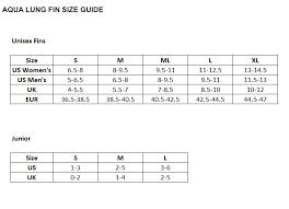 Aqualung Fins Size Chart Size Chart Aqualung