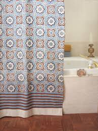 brown and blue shower curtain. blue shower curtain, moroccan beach cotton curtains | saffron marigold brown and curtain