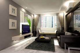 Modern Small Apartment Design White Colors Fabric Chairs Rectangle Shape  Grey Colored Sofa Curly Pattern Black Round Laminated Wooden Table White  Pillowcase ...