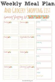 Free Weekly Meal Planner With Grocery List Weekly Meal Planner And Grocery Shopping List Best Of Simply Today