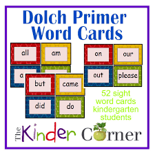dolch primer dolch primer word cards the kinder corner