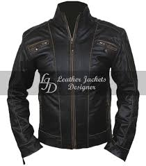 mens black rivet antique motorcycle style casual fitted leather jacket front