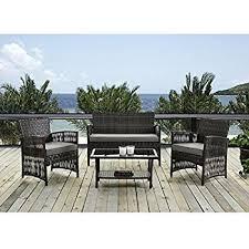 amazoncom patio furniture. patio furniture dining set 4 pcs garden outdoor indoor rattan wicker brown cushion cover amazoncom