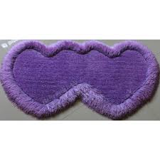 lavender double heart shaped carpet area rug with lurex 2 x 4