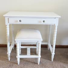 Modern Bedroom Vanity Table White Wooden Make Table Without Mirror And White Wooden Stool
