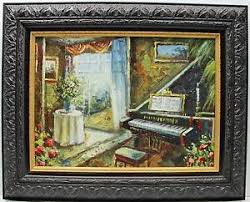 image is loading baby grand piano music room original oil painting  on grand piano wall art with baby grand piano music room original oil painting wall art work