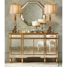 Console 3 Drawers 4 Doors Gold and Mirrored Powell pany