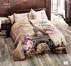 100% Turkish Cotton 4 Pcs!! Ranforce Paris Eiffel Tower Theme ... & Ranforce Paris Eiffel Tower Theme Themed Full Double Queen Size Quilt Duvet  Cover Set Bedding Made in Turkey Adamdwight.com
