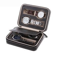 craftearth portable travel watch case leather zippered 4 slot watch storage box display organizer black