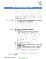 Excellent Human Resources Manager Job Description Resume Template