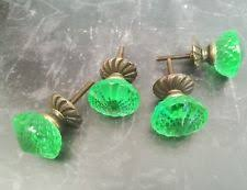 set 4 green glass drawer knobs cupboard cabinet door pull slight seconds green glass cabinet knobs b61 cabinet
