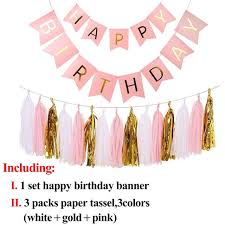 Pink Banners Us 2 22 Pink Blue Happy Birthday Banner Paper Bunting Garland Banners Flags Baby Shower Boy Or Girl Party Decorations Versatile Flag In Banners