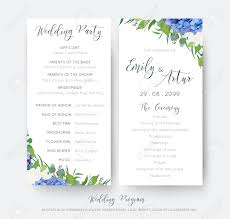 Wedding Ceremony Card Wedding Floral Wedding Party And Ceremony Program Card With Floral
