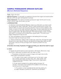 best photos of persuasive speech outline format example college  sample persuasive speech outline example