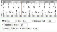 Convert Mm Cm To Fractions Of Inches Cm To Inches