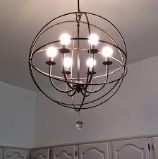 6 light black metal orb chandelier for modern kitchen lighting design idea